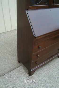 00001 Antique Walnut Secretary desk with Bookcase Top