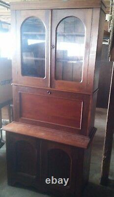 044 Antique Secretary Desk China Hutch Top 2 Piece Sections Skeleton Key Locks