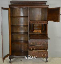 17891 Victorian Oak Curved Glass Side by Side Secretary Desk