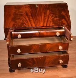 1840s Antique American Empire Crotch Mahogany secretary slant front desk