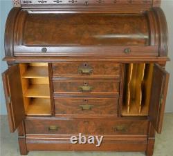 18722 Victorian Eastlake Heavily Carved Cylinder Secretary Desk