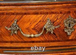 1880s Antique French Louis XV Walnut Bronze handles Secretary desk
