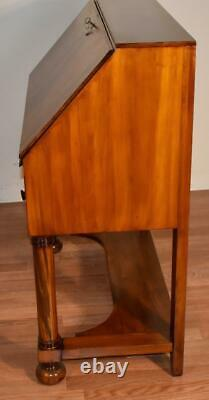 1890s Antique American Empire Burl Walnut secretary desk, Original key