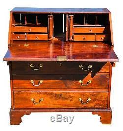 18th C Antique Chippendale Mahogany Slant LID Secretary Desk