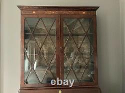 18th Cent CHIPPENDALE SECRETARY slant top desk bookcase top MAHOGANY great inlay