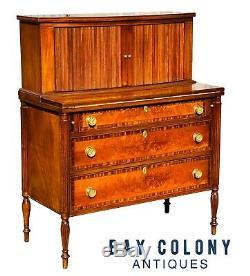 19th C Antique Federal Period Boston Ladies Mahogany Tambour Secretary Desk