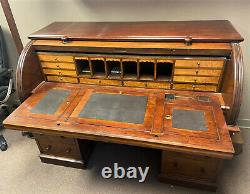 19th c Antique English Roll Top Writing Desk Secretary with Provenance! WE SHIP