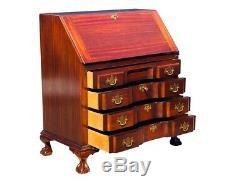 20th C Chippendale Antique Style Mahogany Block Front Slant LID Secretary Desk