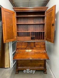 20th Century Antique Swedish Tiger Maple Secretary Desk