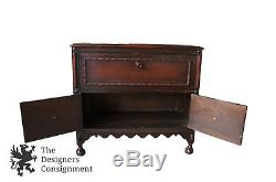 36 Jacobean Spanish Style Mid Century Walnut Butlers Secretary Desk Cabinet