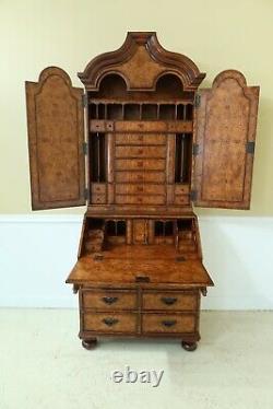 49431EC THEODORE ALEXANDER Burl Walnut George III Style Secretary Desk