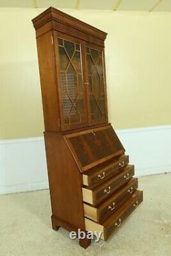 51619EC JASPER Flame Mahogany Secretary Desk w. Bookcase Top