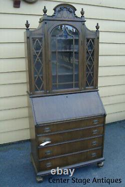56351 Antique Mahogany Secretary Desk with Bookcase Top