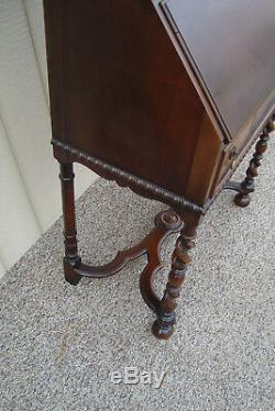 59435 Antique Walnut Jacobean Secretary Bookcase Desk QUALITY KARCHER REHN