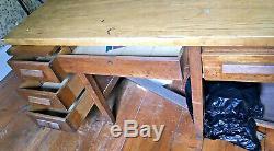 5' x 4' Solid Oak Double-Sided Partners Desk Office Share Secretary 12 Drawers