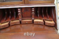 61043 Antique Mahogany 2 piece Secretary Desk with Bookcase Top