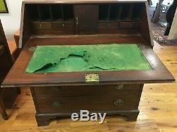 ANTIQUE 19 CENTURY WOOD SECRETARY Drop Front Writing Desk Cubbies & Drawers