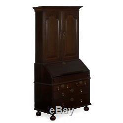 ANTIQUE SECRETARY DESK English Queen Anne Style Oak Bookcase 18th Century