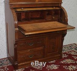American Antique Burl Walnut Eastlake Roll Top Secretary Desk Bookcase C 1890