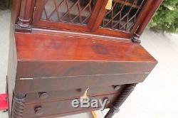 American Empire Flamed Mahogany Secretary Desk with Keys Circa 1860's
