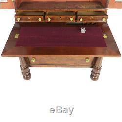 Antique 1800's Federal Empire Secretary Desk Bookcase Flame Mahogany Veneer