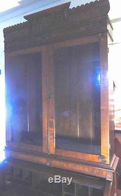 Antique 1870s Walnut Barrel Secretary Desk 95h x 40w x 12d With China Closet