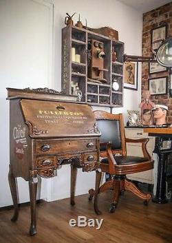 Antique 1900's Secretary Writing Desk Wooden Train Railroad Station Vintage