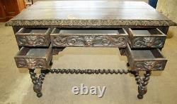 Antique 19th C. Oak Carved North Wind Desk #2355