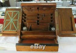 Antique 19th C Victorian WALNUT BURL SCRIBES DESK with INKWELLS Desktop Organizer