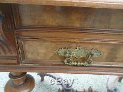 Antique 19th Cent Victorian Flat Top Desk Secretary With Gallery Herter Bros Era