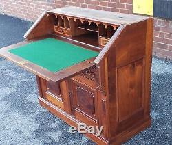 Antique 19th Century Burl Walnut & Inlaid Victorian Slant Top Secretary Desk