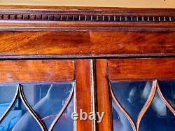 Antique 19th Century English Library Case with Desk, Burl wood