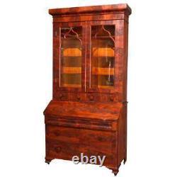 Antique American Empire Flame Mahogany Dropfront Secretary Desk, circa 1840