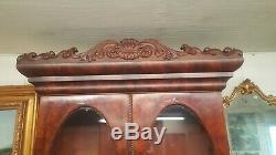 Antique American Victorian Flame Mahogany Secretary Desk Bennington Pottery Pull