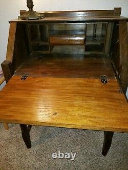 Antique Arts&Crafts Mission Style Solid Oak Slant Drop Front Secretary Desk