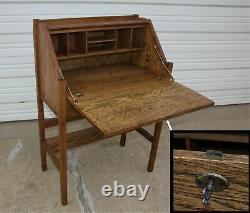 Antique Arts&Crafts Mission Style Solid Oak Slant Drop Front Secretary Desk wKey
