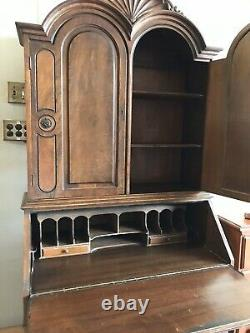 Antique Burled Wood Mahogany Drop Front Secretary Desk Bookcase Top With Claw Feet