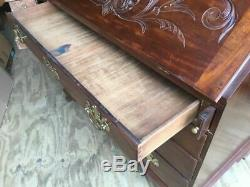 Antique Carved Mahogany Shell Carved Drop Front Secretary Desk