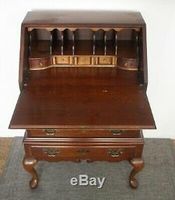 Antique Cherry Wood Secretary Writing Desk With Lid