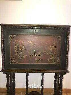 Antique Chinese Japanese Oriental Asian Secretary Desk Drop Front
