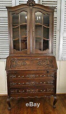 Antique Country French Secretary Desk Bookshelf Display Cubbies Dark Oak Classic