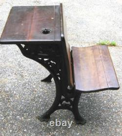 Antique Country Primitive Wood Cast Iron Hardware USA School Desk Stand Home Art