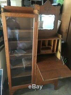 Antique Curio Cabinet &Oak Secretary & Bookcase Drop Down Desk Glass