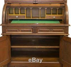 Antique Desk, Cylinder, Secretary, American Victorian Walnut, 1800s, Stunning