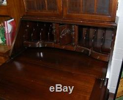 Antique Desk Secretary Solid Wood Glass Cupboard Doors Curved Drawers Brass