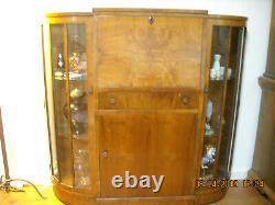 Antique Drop Front Secretary Desk with Side Glass Doors Local Pick Up Only