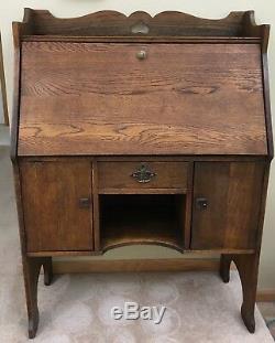 Antique Drop Front Secretarys Desk Large Oak Finish Unique Design