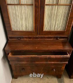 Antique Empire Mahogany Drop Front Secretary Desk with Bookcase Hutch WE SHIP
