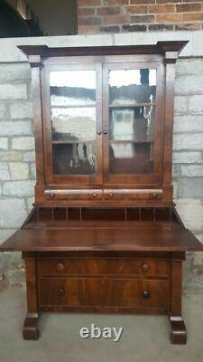 - Antique Empire Secretary Desk and Bookcase