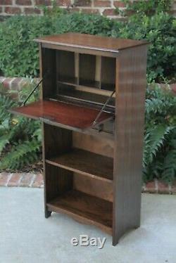 Antique English Oak Larkin Desk Fall Front Secretary Bookcase Bureau Jacobean